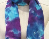 "Handpainted Silk Scarf. Hand Dyed Scarf. Blue, Teal and Purple scarf. Long 11""x50"""