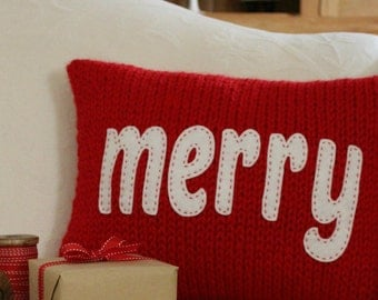 KNITTING PATTERN / Christmas Pillow / Merry / Cheers / Cushion / Quick Knit / Super Bulky Yarn / pdf instant download / Felt Applique / DIY