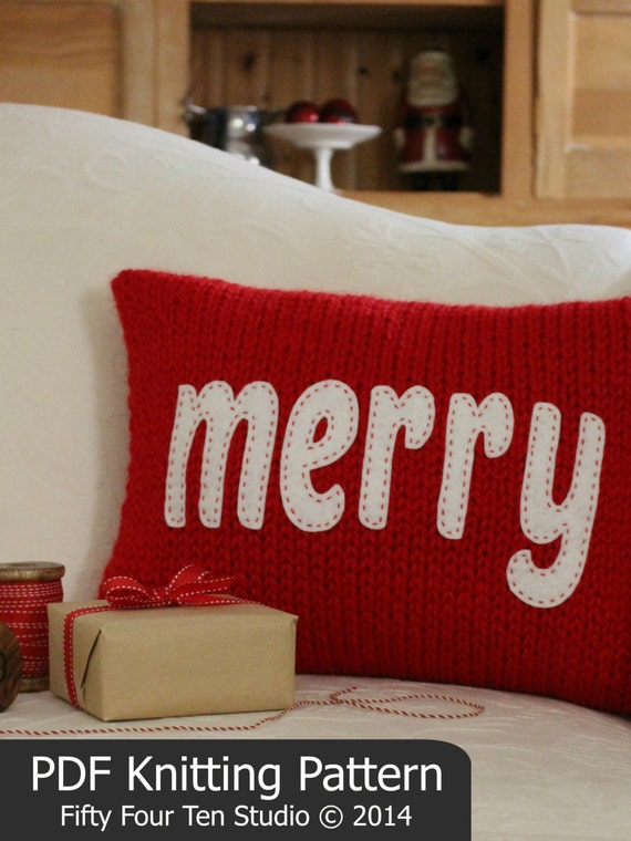 KNITTING PATTERN / Christmas Pillow / Merry / Cheers / Cushion