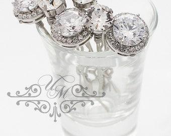 Wedding hair accessories Set of 6 Wedding Hair pins Bridal Bridesmaids Headpiece Zirconia Swarovski Crystal Rhinestone Bobby pins - MACEY
