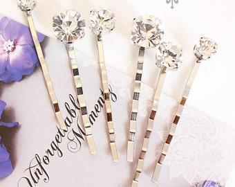 Set of 6 Czech Clear Crystal hair pins Wedding Hair pins Wedding hair Accessories Bridal Bridesmaids hair pins Czech Clear Crystal headpiece