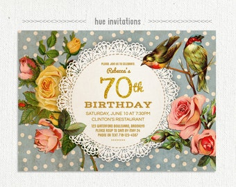 70th birthday invitation for women, rustic doily roses birds blue polka dots floral, adult birthday party invitation, 5x7 jpg or pdf