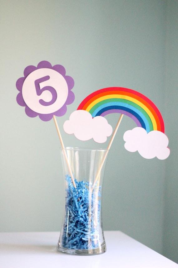 rainbow party centerpiece 2 pieces
