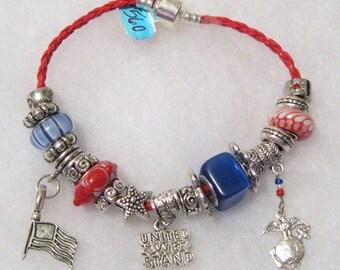 560 - CLEARANCE - US Marines Charm Bracelet