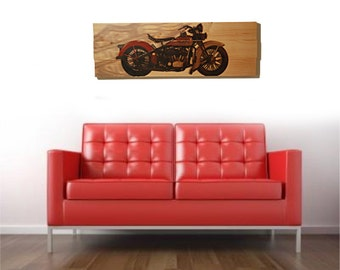 "Large 1934 Harley Davidson Motorcycle Wall Art on Solid Wood Boards - 32"" x 11"" Biker Decor"