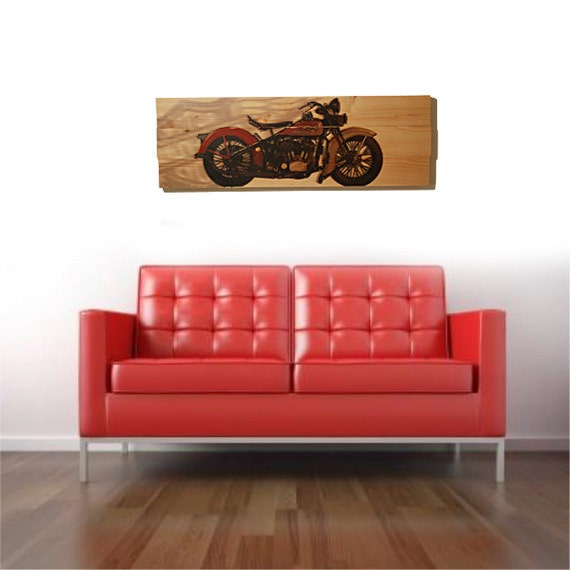 Large 1934 Harley Davidson Motorcycle Wall Art On Solid Wood