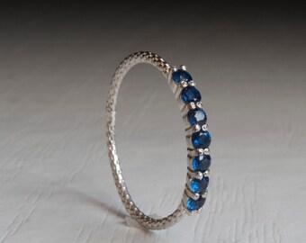 Half eternity Sapphire ring - blue stone ring
