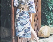 Lost in Kyoto collection Traditional Japanese painting Hokusai's The Great Wave off Kanagawa cheong-sam style dress limited edition