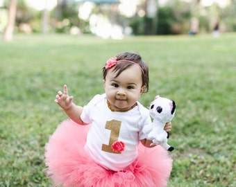 Coral and Gold Baby Girl's First Birthday Outfit- Coral 1st Bday Outfit- Gold 1 Bodysuit Tutu and Headband- 1 Birthday Outfit- Coral Tutu