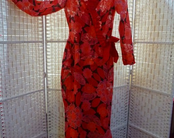 Unique. Scarlet, coral, orange, black and pink, full length robe with burnout design. Bias cut, 30s retro chic. Inspired by Mae West