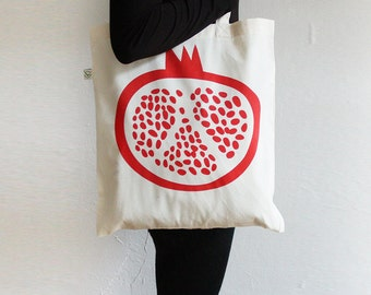 Pomegrante Tote Bag — 100% Organic Cotton
