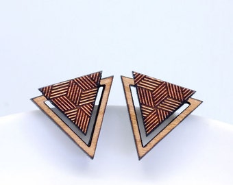 Geometric Triangle Earrings, Minimalist Earrings, Minimalist Jewelry, Wooden Geometric Earrings, Stud Earrings, Laser Cut Jewellery