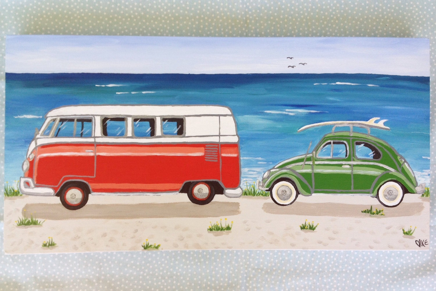 beach art vw bus volkswagen beetle at the beach by. Black Bedroom Furniture Sets. Home Design Ideas