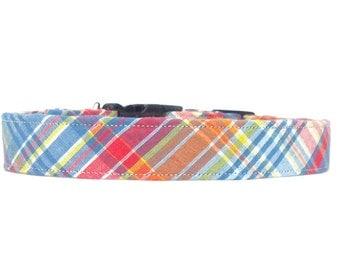 Preppy Sunset Seersucker Plaid Dog Collar