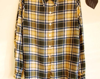 Vintage Button Up Shirt with Colorful Plaid Print size S/M