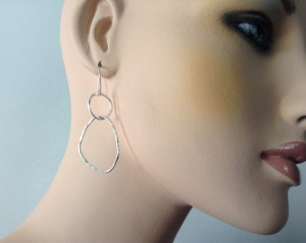 Abstract Long Earrings, Forged and Hammered Fine Silver, Handmade by LisaJStudioJeweler.