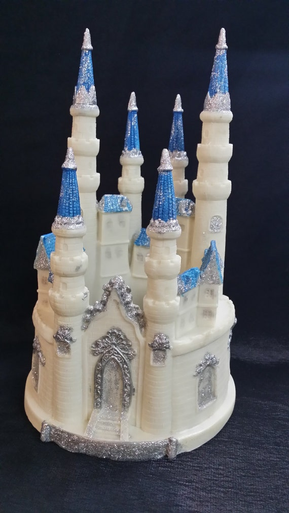 fairytale castle wedding cake topper princess castle princess birthday blue castle cake topper 14098