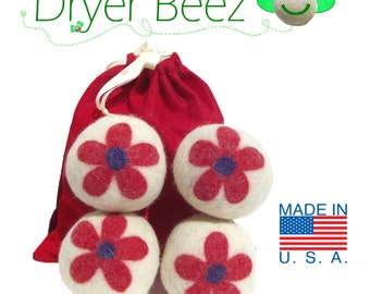 Wool Dryer Balls -  Red Flower Gift Set of 4 Eco-friendly Premiun USA wool fleece needle-felted designs