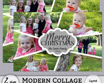 Cute Clean Classic Modern Collage Christmas Photo Card Template - 4x6 - 5x7 - Instant Download