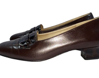 Vintage 1960s Magdesian California Louise Heels Mad Men Style Croc Embossed Patent Leather