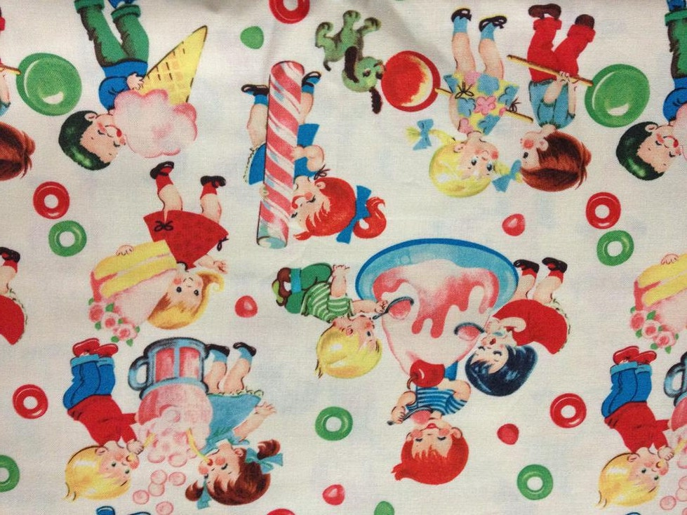 Fat quarter of retro kids candy shop fabric by for Retro kids fabric