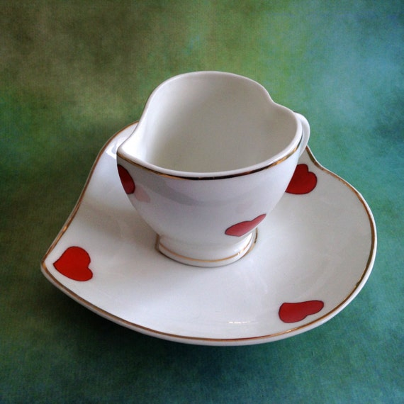 Vintage Coimbra Portugal Heart Shaped Demitasse Tea Cup Set