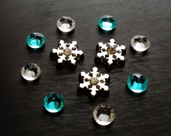 Set of Snowflake Floating Charms for Floating Lockets-Gift Idea