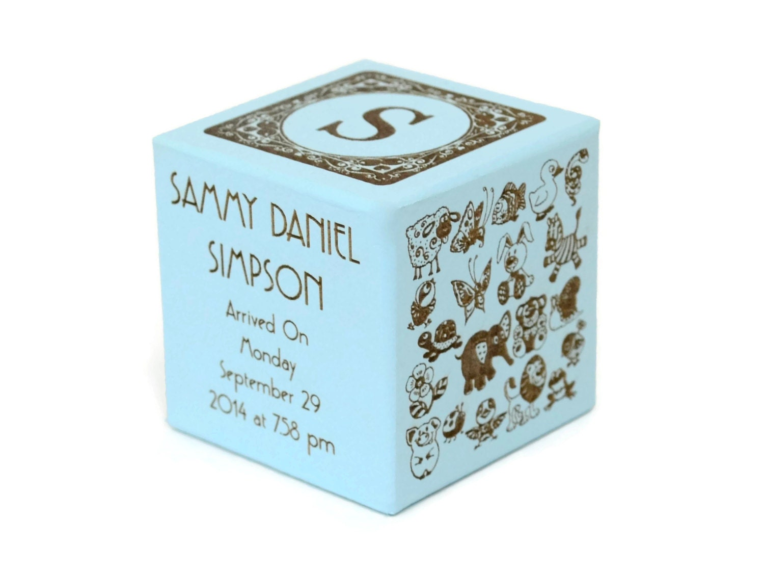 Baby Boy Gifts With Name : Personalized baby boy gift engraved block wooden name by