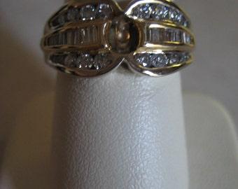 Estate Two-Tone 14 karat Channel Set Diamond Semi-Mount Ring Size 6.75