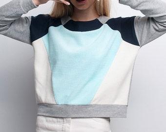 Mint and grey geometric avantgarde handmade sweatshirt. Minimal style