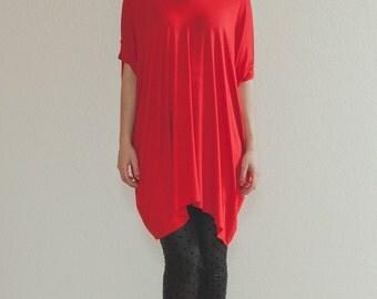 Asymmetric Oversized Blouse /Red Tunic/Black tunic/ plus size tunic