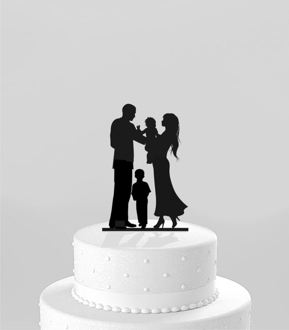 Wedding Cake Topper Silhouette Bride &Groom holding baby with