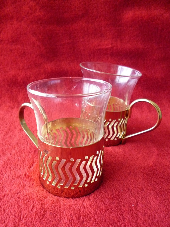 Glass Coffee Cups Metal Holder By Myfoundvintage On Etsy
