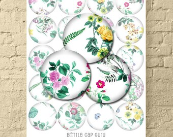 """FLORAL WHITE 2 Inch Circle Digital Collage Sheet / Flower Art for Crafts, Scrapbooking / Printable 2"""" Round Images // Instant Download"""