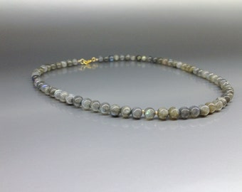 Beaded Labradorite Necklace with 14K gold plated elements - gift idea for holiday season