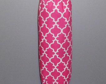 Grocery Bag Holder - Plastic Bag Holder - Bag Dispenser - Pink Quatrefoil - Pink Lattice
