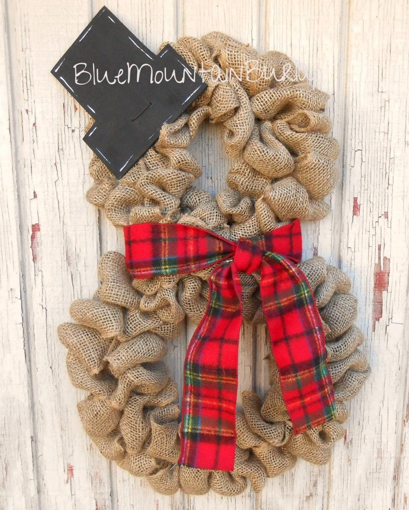 burlap snowman wreath christmas wreath front by