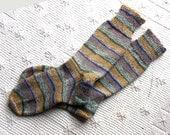 Hand Knit Socks made with Italian Wool, Unisex Socks, Striped Wool Socks