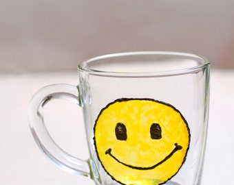 Hand painted mug yellow smile, Custom smile, Stained glass cup. Funny mug, Engagement birthday, easter gifts for her him. Transparent glass