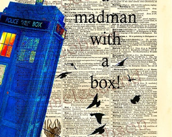 "Dr Who tardis,instant download,Dr Who quote,Whovian,""Madman with a box"",dictionary print,birds,Tardis poster,home decor,wall art,8.5x11,blue"
