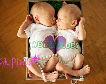 Newborn Twin Girls Take Home Outfit Wombmates Newborn Twins Coming Home Outfit OnePiece Going Home Outfit Baby Shower Gift Idea