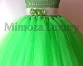 Green Fairy Flower girl dress apple green tutu dress bridesmaid dress tinkerbell princess dress crochet top tulle dress yarn tutu dress