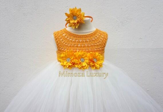 Yellow Daffodil Flower girl dress, tutu dress bridesmaid dress, princess dress, silk crochet top tulle dress Daffodil dress in yellow