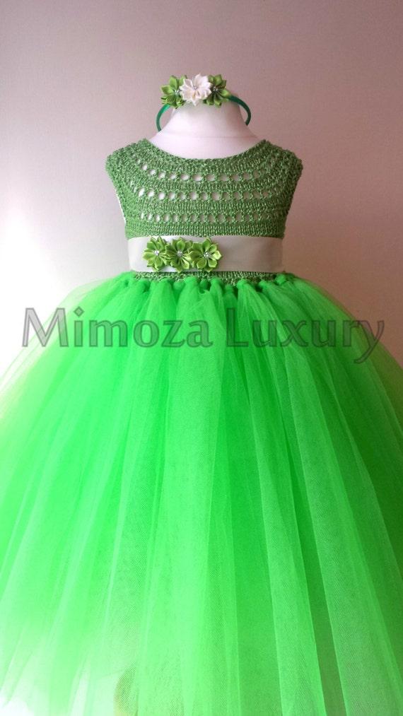 Green Fairy Flower girl dress, apple green tutu dress, bridesmaid dress, tinkerbell princess dress, crochet top tulle dress, yarn tutu dress