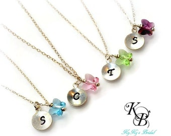 FlowerGirl Jewelry, Color Choice, Personalized Girl Necklace, Wedding Jewelry, Butterfly Necklace, Hand Stamped Necklace, FlowerGirl Gift