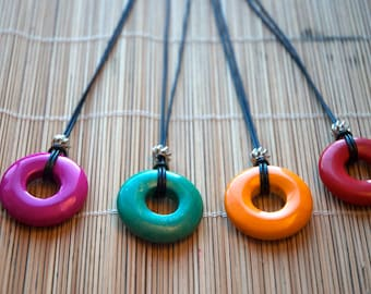 Coloured Turquoise Donut Pendant Necklace