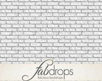White Brick Backdrop - Brick Photography Backdrop - White Brick Back Drop Background (FD0910)