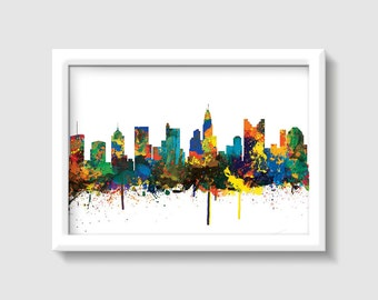 Columbus  City Skyline, OHIO Print,Digital Watercolor Art Print. Modern Home Decor ,home town print,No,209