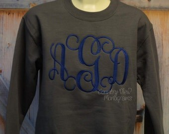 Monogrammed Intertwined Font Crew Neck Sweatshirt--fall winter apparel--Game day and football team colors