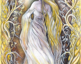Original illustration - Lady of Light, fantasy art, Lord of the Rings inspired illustration, Hobbit inspired